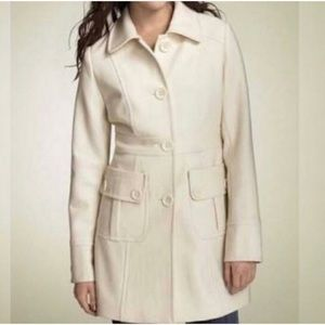 Anthropologie Tulle white wool pea coat